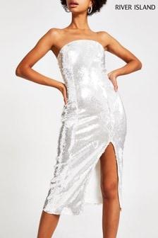 River Island Silver Bandeau Split Sequin Dress