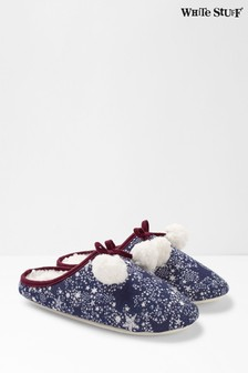 White Stuff Blue Star Mule Slippers