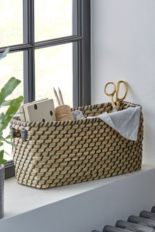 Black Woven Seagrass Storage Tray