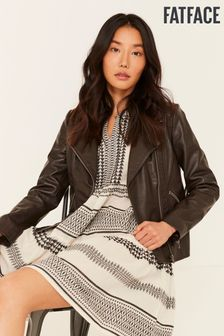 FatFace Brown Bethany Biker Jacket