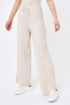 Knitted Rib Wide Leg Pants