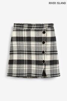 River Island Grey Check Print Button Through Mini Skirt