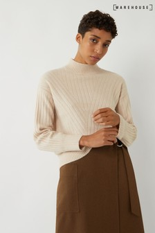 Warehouse Natural Cosy Wide Cutabout Rib Jumper