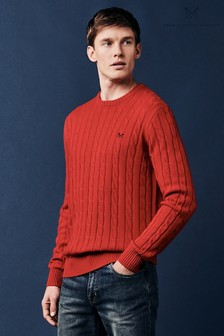 Crew Clothing Red Regatta Cable Crew Sweater