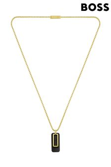 BOSS Dual Yellow, Gold And Black IP Dog Tag Necklace