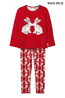 White Stuff Red Counting Bunnies Jersey Pj Set