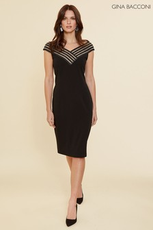 Gina Bacconi Black Callia Stretch Crepe Dress
