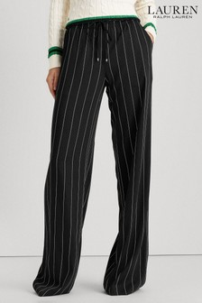 Lauren Ralph Lauren® Black Cream Pinstripe Wide Leg Trousers