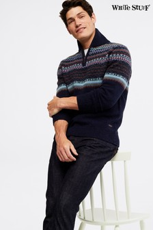 White Stuff Blue Runswick Pattern Zip Shawl Collar Jumper