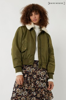 Warehouse Green Faux Fur Collar Bomber Jacket
