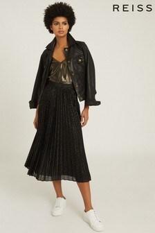Reiss Black Marianne Mesh Pleated Midi Skirt
