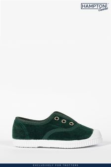 Trotters London Green Plum Velvet Shoes