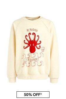Kids Ivory Organic Cotton Octopus Sweater