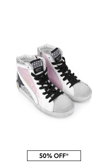 Kids Pink Leather & Glitter High Top Star Trainers