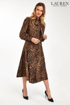 Lauren Ralph Lauren Leopard Barry Midi Dress