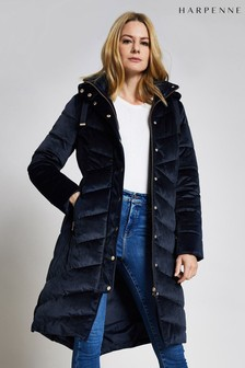 Harpenne Navy Velvet Padded Quilted Coat