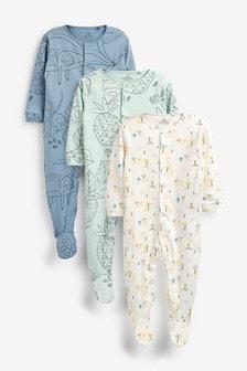 3 Pack Sloth Sleepsuits (0 мес. - 2 лет)