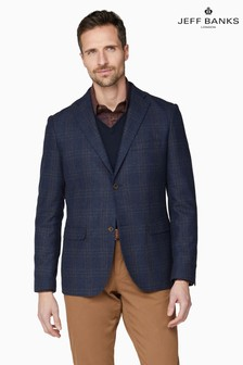 Jeff Banks Blue Large Check Men's Tailored Fit Blazer