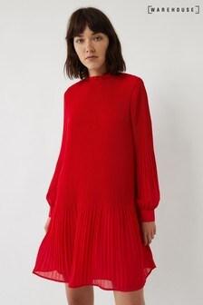 Warehouse Red Micro Pleat Mini Dress