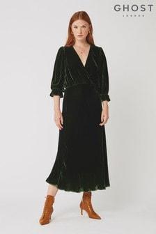 Ghost London Gracie Green Silk Velvet Dress