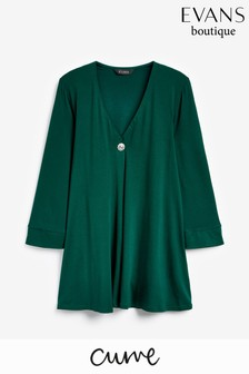 Evans Green Pearl Buttoned Top
