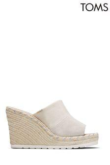 TOMS Natural Shimmer Suede Monmul Sandals