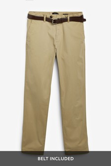 Signature Soft Touch Leather Belt Chino Trousers