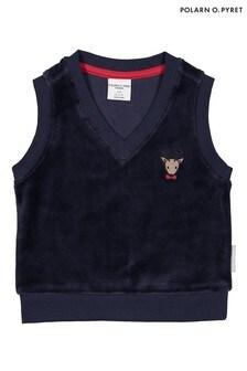 Polarn O. Pyret Blue Organic Cotton Soft Velour Vest