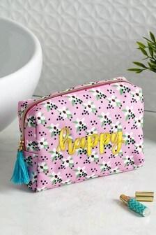 Floral Print Slogan Cosmetic Bag