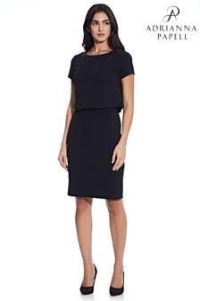 Adrianna Papell Black Embellished Pop Over Sheath Dress