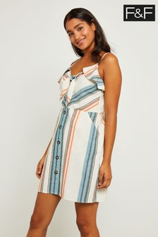 F&F Multi Stripe Button Dress
