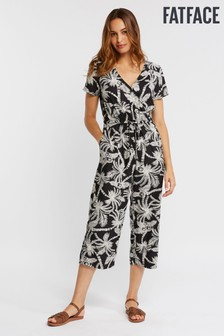 FatFace Black Ally Mono Palm Jumpsuit