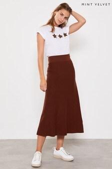 Mint Velvet  Conker A Line Midi Skirt