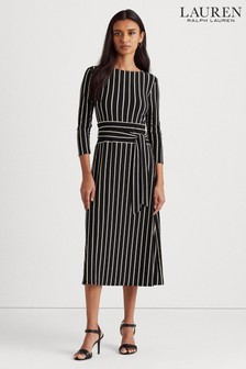 Lauren Ralph Lauren® Black White Stripe Stretch Kristie Dress