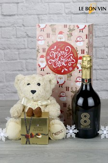 Prosecco Teddy & Chocs Merry Christmas Gift Set by Le Bon Vin