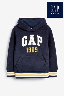 Gap Navy Sherpa Logo Hoody