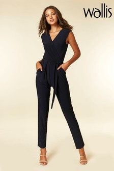 Wallis Blue V-Neck Wrap Jumpsuit