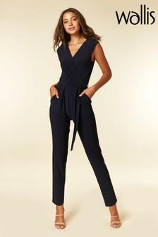 Wallis Blue V-Neck Wrap Jumpsuit