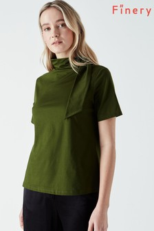 Finery Green Cyrus Tie Neck Jersey Top