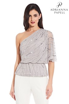 Adrianna Papell Silver Beaded Blouson Top