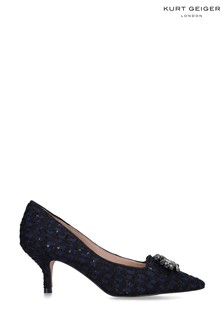 Kurt Geiger Ladies Pia Jewel Black Fabric Heels