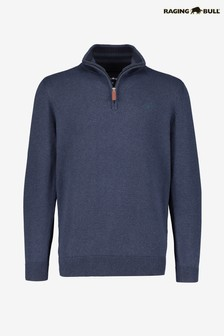 Raging Bull Knitted Cotton Cashmere 1/4 Zip Jumper