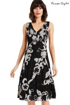 Phase Eight Black Adira Tapework Dress