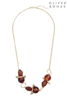 Oliver Bonas Multi Louisa Resin Bead Curved Necklace