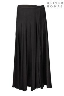 Oliver Bonas Black Satin Midi Skirt