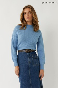 Warehouse Blue Cosy Wide Cutabout Rib Jumper