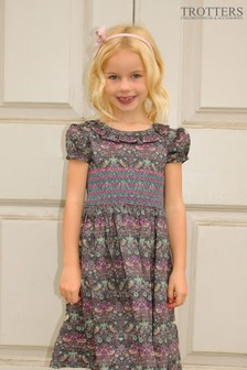 Trotters London Brown Strawberry Thief Willow Smocked Liberty Print Dress