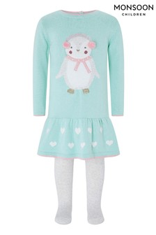 Monsoon Children Blue Baby Poppy Penguin Dress & Tights