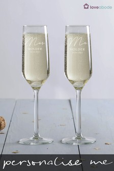 Personalised Mr & Mrs Champagne Flutes by Loveabode