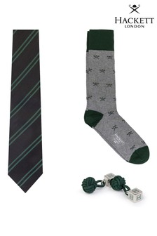 Hackett Grey Gift Set Of Tie, Socks And Cufflinks Pattern